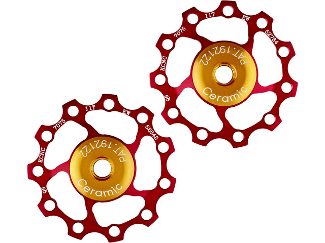 KCNC Jockey Wheel Ceramic Bearing 11 teeth pair red